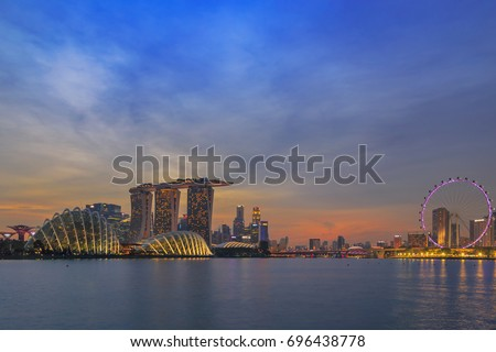 SINGAPORE - January 14, 2017 : Marina Bay Sands hotel in twilight. Marina Bay Sands is an integrated resort fronting Marina Bay in Singapore.