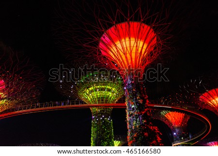 SINGAPORE - JANUARY 15: Night view of Supertree Grove at Gardens by the Bay on January 15, 2016 in Singapore. Spanning 101 hectares of reclaimed land in central Singapore.