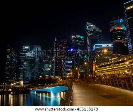 Singapore - January 17, 2016: Singapore city scape at night
