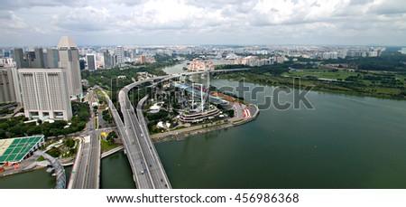 SINGAPORE - JANUARY 6, 2014:Singapore city skyline and view of Marina Bay - stock photo