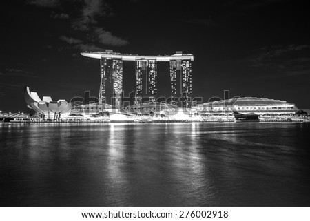 Singapore - January 6, 2015: View of Marina Bay Sands resort in Singapore.