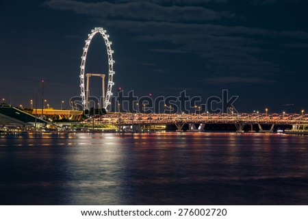 Singapore - January 5, 2015: View of the city skyline at night time in Singapore. - stock photo
