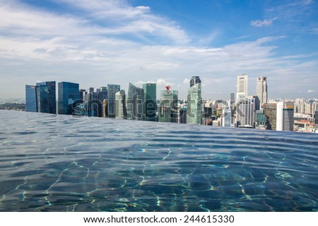 Singapore - January 7: View of the infinity swimming pool of the Marina Bay Sands resort on January 7, 2015. - stock photo