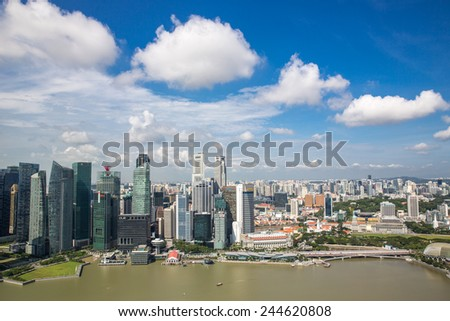 Singapore, January 6: View of the waterfront promenade in Singapore on January 6, 2015. - stock photo