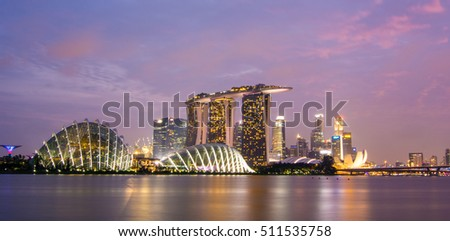 Singapore - Jul 4, 2015. Night view of Marina Bay in Singapore. Trade in Singapore has benefited from the extensive network of trade agreements Singapore has passed.