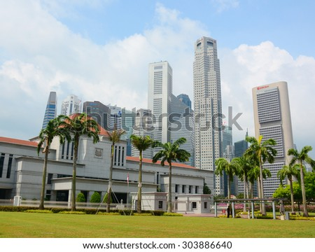 Singapore - Jul 4, 2015. Singapore Parliament building in front of Singapore downtown. The Parliament and the President jointly make up the legislature of Singapore.