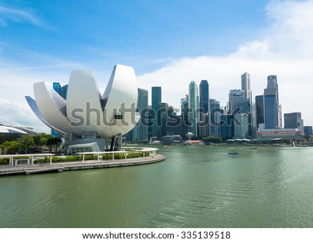 SINGAPORE - July 16, 2015: ArtScience Museum is one of the attractions at Marina Bay Sands, an integrated resort in Singapore. - stock photo