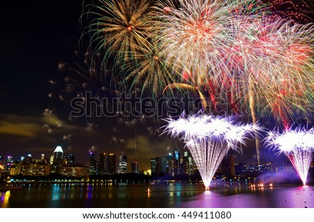 Singapore - July 2016:Fireworks in Singapore in the evening,july 2016.Editorial.Horizontal view.