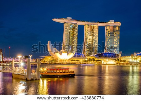 SINGAPORE - July 31, 2014 : Marina Bay Sands, World's most expensive standalone casino property in Singapore at S$8 million on July 31, 2014
