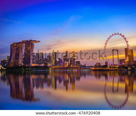 SINGAPORE - JULY 9, 2016 : Skyline and view of skyscrapers at twilight time in Singapore.