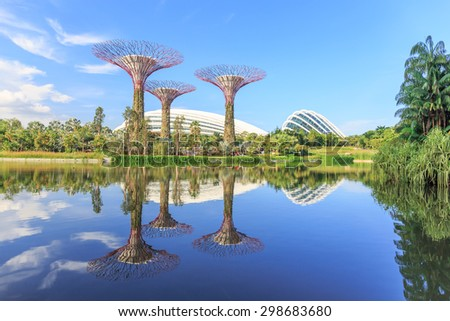 SINGAPORE - JULY,22: Super Tree Grove Gardens by the Bay is the one of attractive Singapore's landmark Where five-minute walk from Bay front MRT Station. SINGAPORE JULY,22 2015 - stock photo