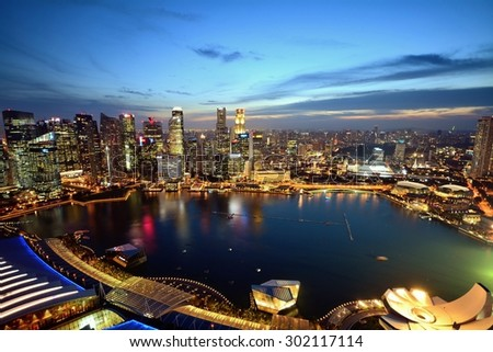 SINGAPORE - July 15th, 2015: Aerial view of Singapore from Marina Bay Sands Sky park at night. Marina Bay Sands is an integrated resort fronting Marina Bay in  Singapore.