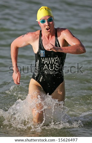 Singapore - July 13th: Hawken of Australia participates in the OSIM Triathlon 2008 Event July 13, in Singapore - stock photo