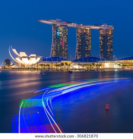 SINGAPORE - JULY 09: The Marina Bay Sands Resort Hotel on July 09, 2015 in Singapore. Marina Bay Sands is an integrated resort and the world's most expensive standalone casino property - stock photo