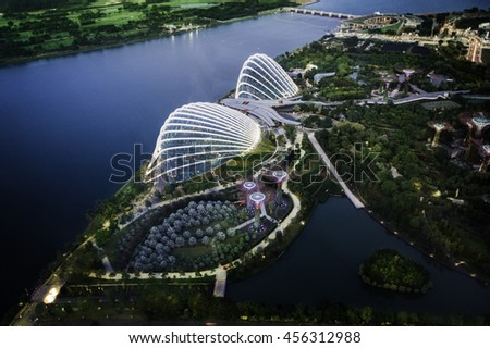 SINGAPORE- JULY 9 : Top view of Cloud Forest & Flower Dome at Gardens by the Bay on JULY 9,2016 in Singapore.Spanning 101 hectares of reclaimed land in central Singapore, adjacent to Marina Reservoir - stock photo