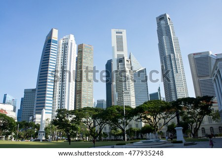 SINGAPORE - 7 JULY 2016- View of the downtown Singapore taken from Padang, Singapore