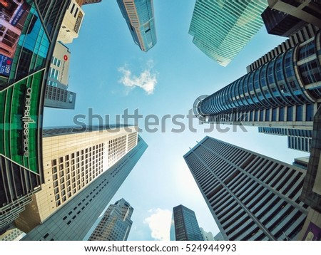 Singapore july 31 2015 worms eye view of several key buildings are
