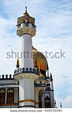 SINGAPORE - 05 JUN, 2015: Day view of the iconic Sultan Mosque, It is located at the heart of Kampong Glam Malay Heritage District in Singapore. - stock photo