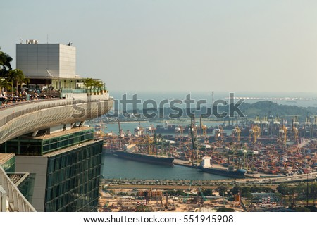 SINGAPORE - JUN 25, 2015: Landscape from bird view of Cargo ships and Business travel in Singapore.