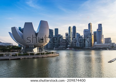 SINGAPORE - JUNE 26: ArtScience Museum in Marina Bay, Singapore on June 26, 2014. Iit is the world's first ArtScience museum. - stock photo