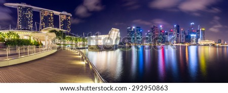 SINGAPORE-JUNE 27 2015:Landscape of the Singapore financial district and business building at night life view.