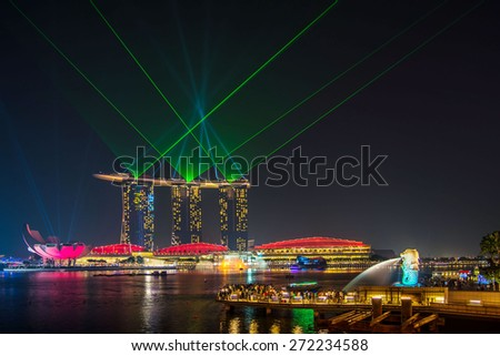 Singapore June 14 ; 2013 Laser show at marina bay sand , Singapore on 14 June 2013 - stock photo