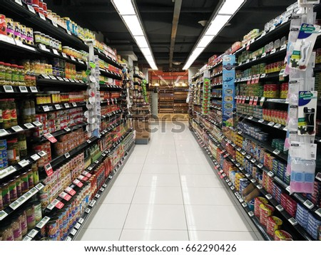 SINGAPORE - JUNE 11 2017 Rows of shelves in Cold Storage Grocery Store in & SINGAPORE JUNE 11 2017 Rows Shelves Stock Photo (Royalty Free ...