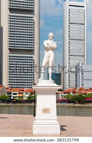 SINGAPORE - 02 JUNE 2013: Sir Stamford Raffles statue on Clark Quay in Singapore with modern buildings on background - stock photo