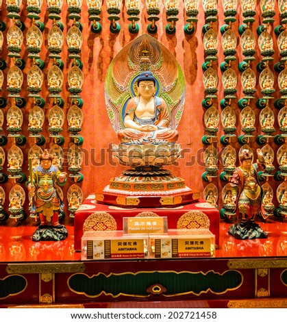 SINGAPORE - JUNE 20: The statue of Buddha in Chinese Buddha Tooth Relic Temple in Singapore on June 20, 2014.