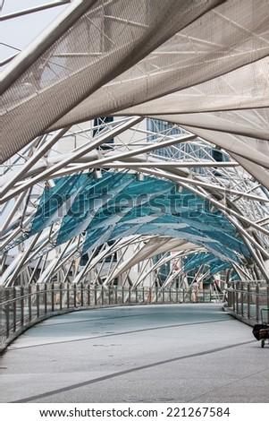Singapore - Juy 9th: View inside the Helix Bridge - stock photo