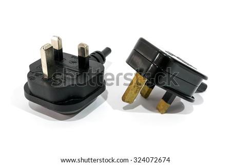 Singapore male power plug isolated on white background. - stock photo