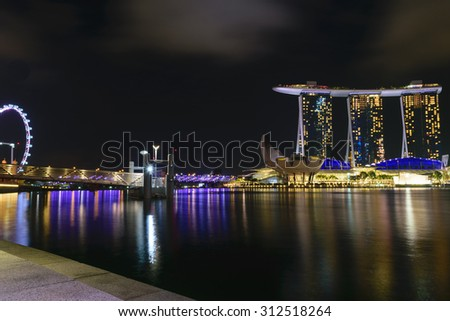 Singapore,Mar 2nd,2015:View  central business buildings and landmarks of Singapore.