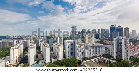 Singapore, 10 Mar 2016: Panorama view of public and private housing estates with city skyline. - stock photo