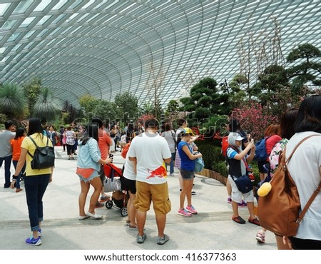 SINGAPORE -20 MAR 2016- The Flower Dome conservatory at the Gardens by the Bay  is a giant climate-controlled greenhouse and one of the main tourist attractions in Singapore.