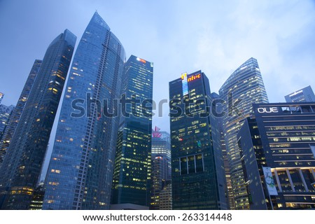 Singapore - MAR 20 : View of many office buildings on March 20,2015 in Singapore, Singapore. Singapore is home to many international businesses headquarters. - stock photo