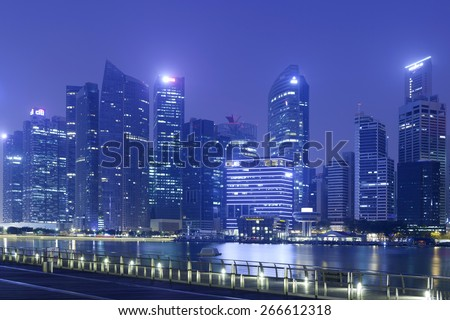 Singapore - MAR 20 : View of many office buildings on March 20,2015 in Singapore, Singapore. Singapore is home to many international businesses headquarters.