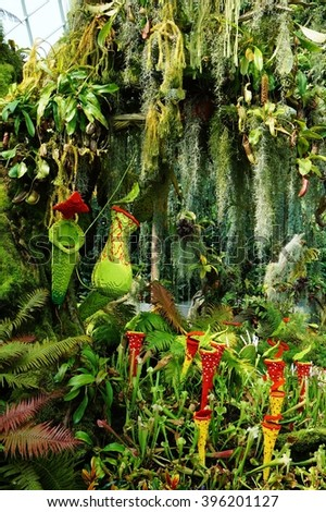 SINGAPORE -20 MARCH 2016- A display of red and yellow carnivorous plants made out of LEGO bricks at the Cloud Forest conservatory at the Gardens by the Bay in Singapore.