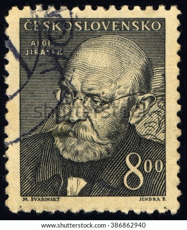 SINGAPORE - MARCH 7, 2016: A stamp printed in Czechoslovakia shows Alois Jirasek, circa 1949 - stock photo