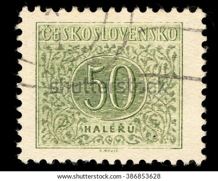 SINGAPORE - MARCH 7, 2016: A stamp printed in Czechoslovakia shows Numbers Fifty Drawing, Postage Due Stamps series, circa 1954 - stock photo