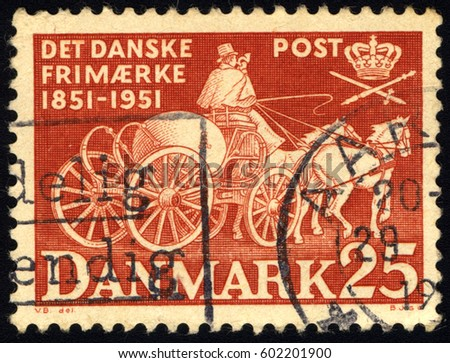 SINGAPORE – MARCH 17, 2017: A stamp printed in Denmark shows Post Chaise, circa 1951