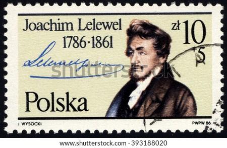 SINGAPORE - MARCH 20, 2016: A stamp printed in Poland Joachim Lelewel-Polish historian, social and political activist,Professor of Vilensk University, circa 1986 - stock photo