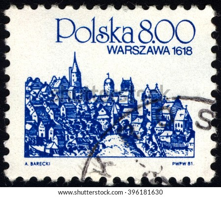 SINGAPORE - MARCH 26, 2016: A stamp printed in Poland shows City Landmark View of Warsaw, 1618, circa 1981. - stock photo
