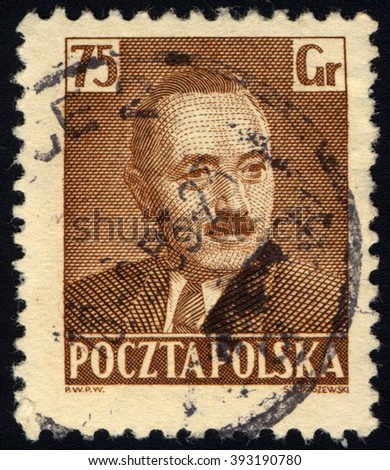SINGAPORE - MARCH 20, 2016: A stamp printed in Poland shows Former President of Poland Boleslaw Bierut, circa 1950. - stock photo