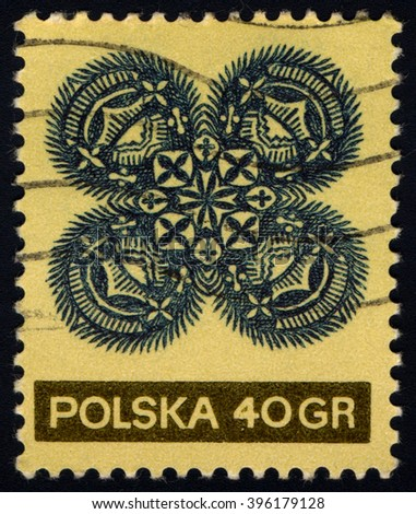 SINGAPORE - MARCH 26, 2016: A stamp printed in Poland shows Paper Cutout, circa 1971 - stock photo