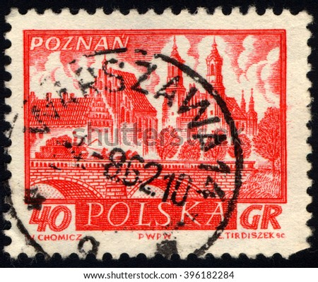 SINGAPORE - MARCH 26, 2016: A stamp printed in Poland shows view of Poznan - A city on the Warta river in west-central Poland, the region called Wielkopolska (Greater Poland), circa 1960 - stock photo