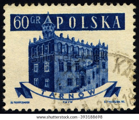 SINGAPORE - MARCH 20, 2016: A stamp printed in Poland to commemorate Ancient Polish Town Halls shows Tarnow, circa 1958. - stock photo