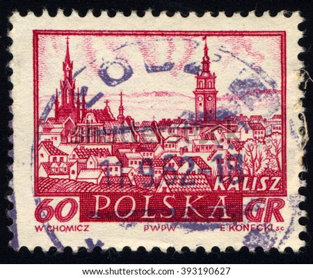 SINGAPORE - MARCH 20, 2016: A stamp printed in Poland to commemorate Historic Polish Towns issue shows Kalisz, circa 1960