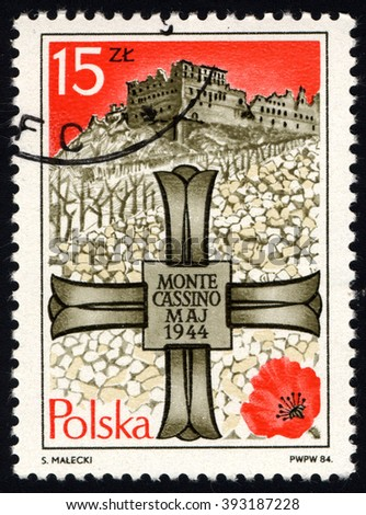 SINGAPORE - MARCH 20, 2016: A stamp printed in Poland to commemorate 40th anniversary of Battle of Monte Cassino shows Monte Cassino Memorial Cross and Monastery, circa 1984. - stock photo
