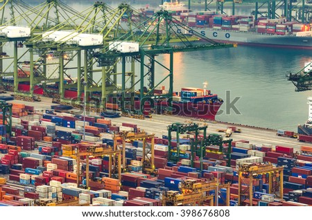 SINGAPORE - MARCH 23, 2016 : import and export container box at Port Keppel, Singapore. - stock photo
