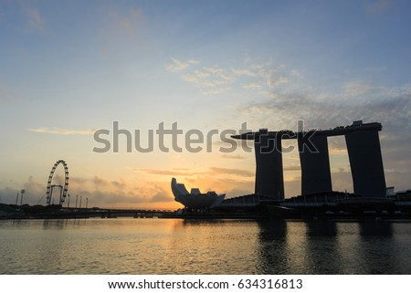 SINGAPORE-MARCH 4, 2016: Marina Bay Sands Hotel with Merlion, the famous landmark in Singapore